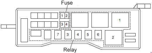 Isuzu N-Series - fuse box diagram - fuse and relay location (Cab Exterior; 4HG1-T, 4JB1, 4JB1-TC (type 2), 4HG1 (type 2))