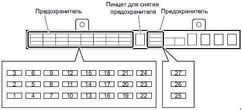 Isuzu N-Series - fuse box diagram - passenger compartment (type 2), 4HG1-T engine models)