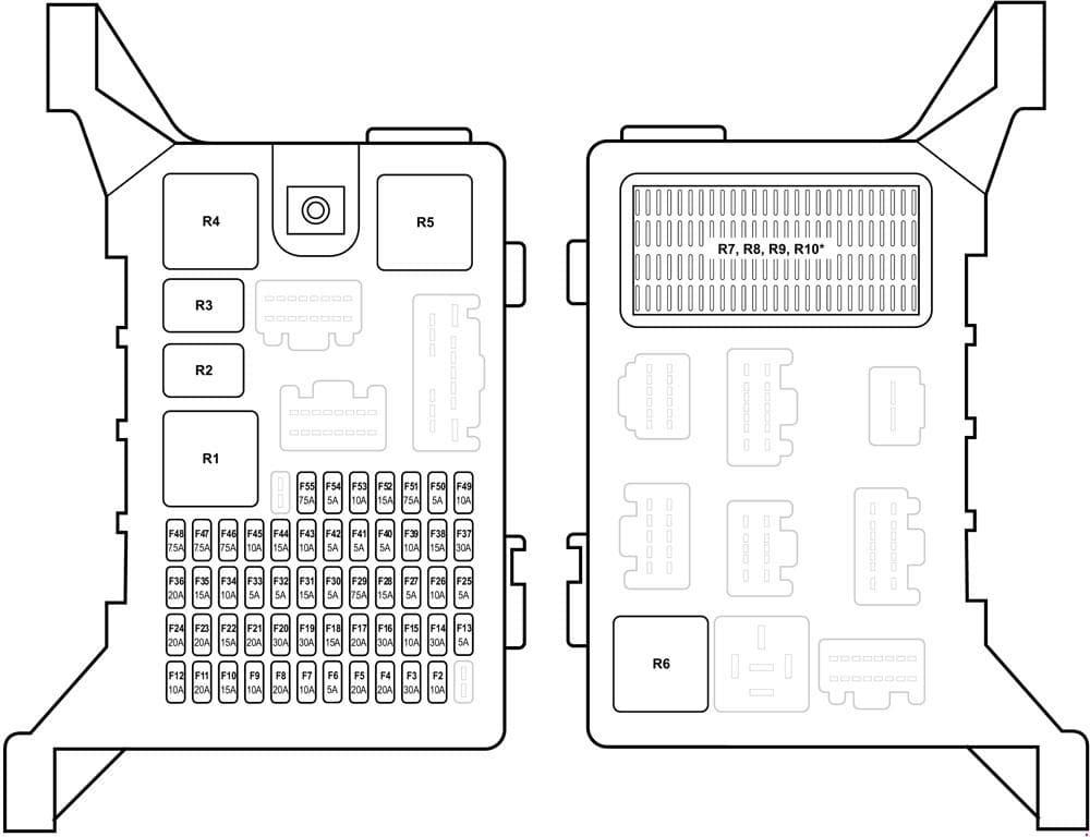 Jaguar X-Type - fuse box diagram - passenger compartment