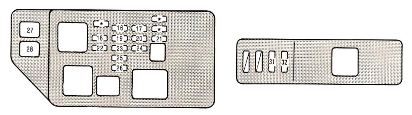 Lexus ES - fuse box - engine compartment (U.S.A)