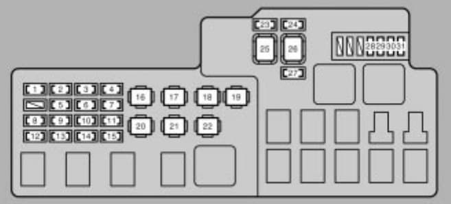 Lexus ES330 - fuse box - engine compartment