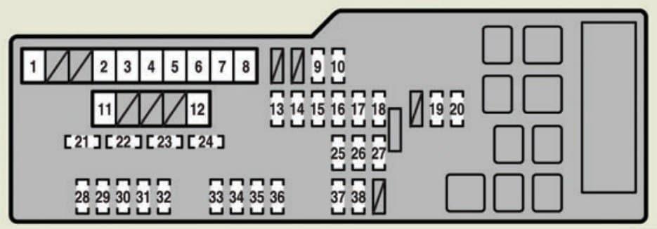 Lexus ES350 - fuse box - engine compartment