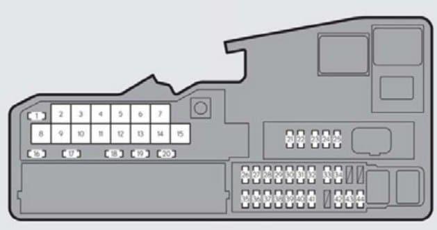 Lexus ES350 - fuse box -engine compartment (type A) - top