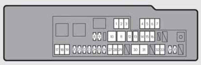 Lexus GS250 - fuse box - engine compartment (type A) - left-hand drive vehicles