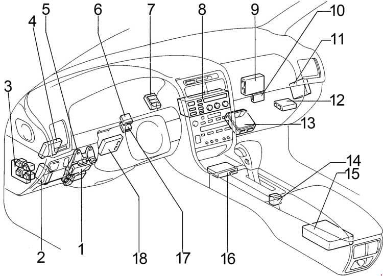 Lexus GS300 - fuse box diagram - passenger compartment