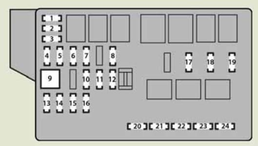 Lexus IS250 - fuse box - engine compartment (type B)