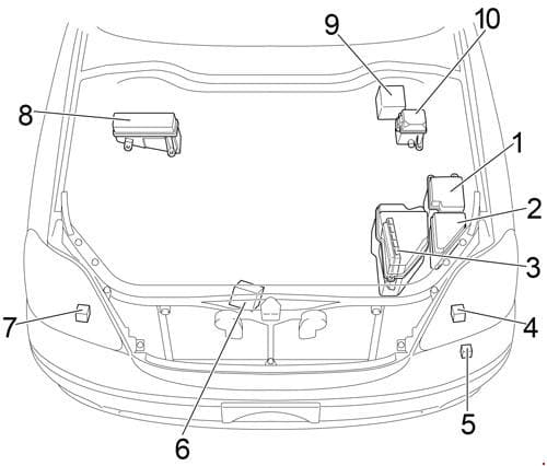 Lexus LS 430 - fuse box diagram - engine compartment - location LHD
