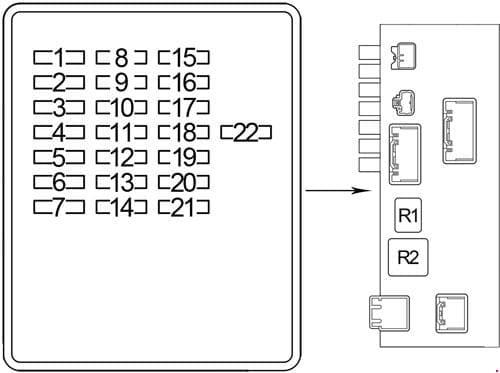Lexus LS 430 - fuse box diagram - passenger compartment - box 1 (driver side)