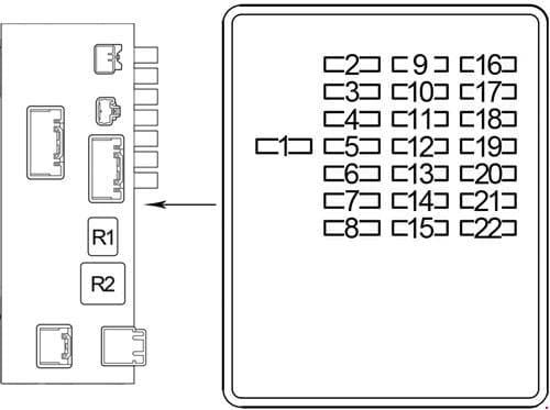 Lexus LS 430 - fuse box diagram - passenger compartment - box 2 (passenger side)