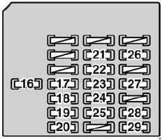 Lexus SC 430 - fuse box diagram - passenger's side kick panel