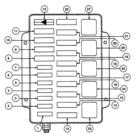 Lincoln Mark VIII - fuse box - engine compartment
