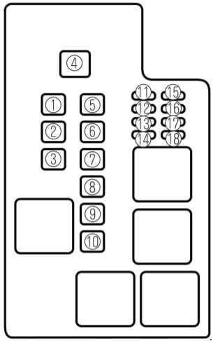 Mazda 626 - fuse box diagram - engine compartment
