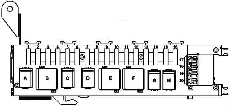 Mercedes-Benz C-Class w203 - fuse box diagram - luggage compartment