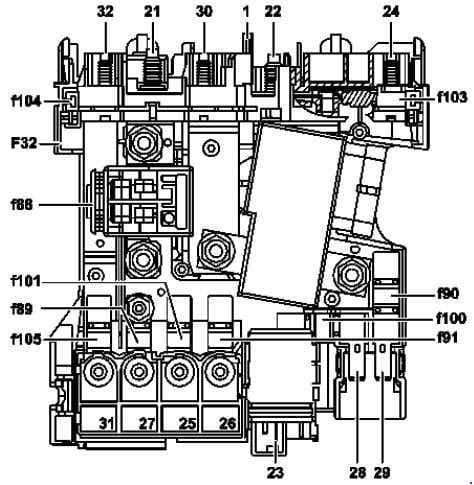 Mercedes-Benz C-Class w204 - fuse box diagram - front prefuse box