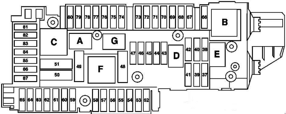 Mercedes-Benz C-Class w204 - fuse box diagram - trunk