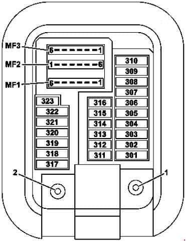 Mercedes Benz C-Class w205 - fuse box diagram - front passenger footwell