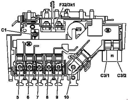Mercedes Benz C-Class w205 - fuse box diagram - engine compartment - prefuse (variant 2)