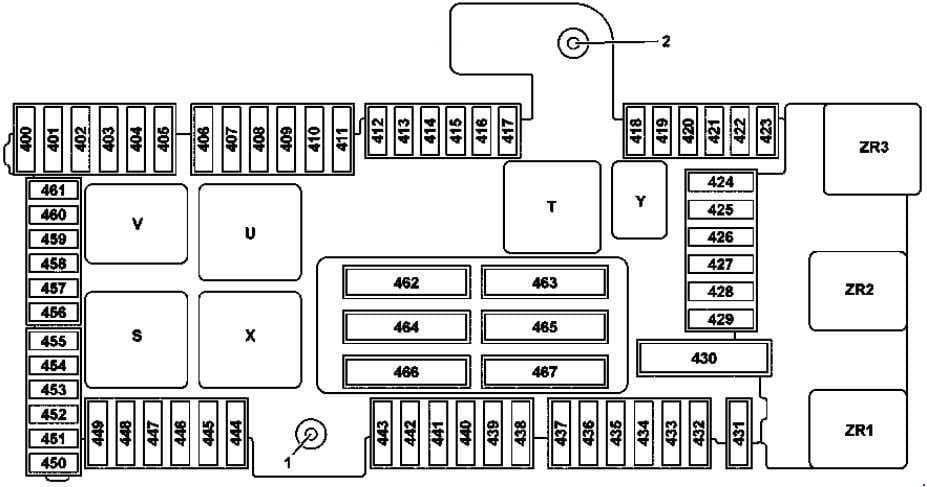 Mercedes Benz C-Class w205 - fuse box diagram - trunk (variant 2)