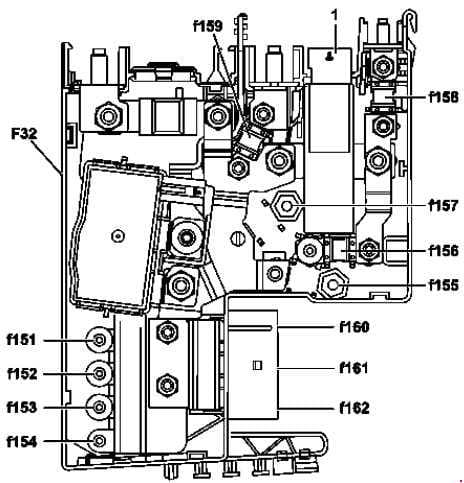 Mercedes-Benz CLS Class w218 - fuse box diagram - front prefuse - with ECO start/stop