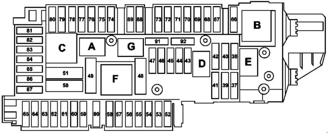Mercedes-Benz GLK-Class - fuse box diagram - luggage compartment