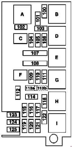 Mercedes-Benz ML w164 - fuse box diagram - engine compartment