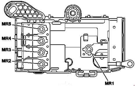 Mercedes-Benz S-Class (w222) - fuse box diagram - engine compartment prefuse (view from below)