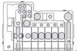 Mercedes-Benz Sprinter w906 - fuse box diagram - Pre-fuse box at the base of the driver's seat (only for auxiliary battery) F59/8