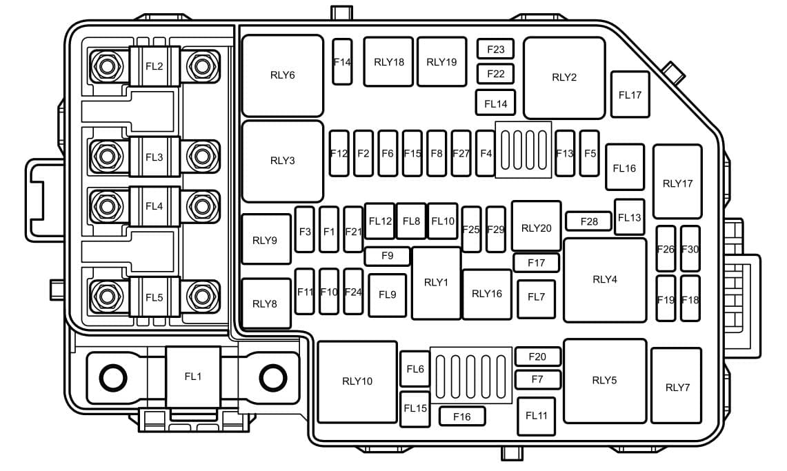 MG ZS - fuse box diagram - engine compartment