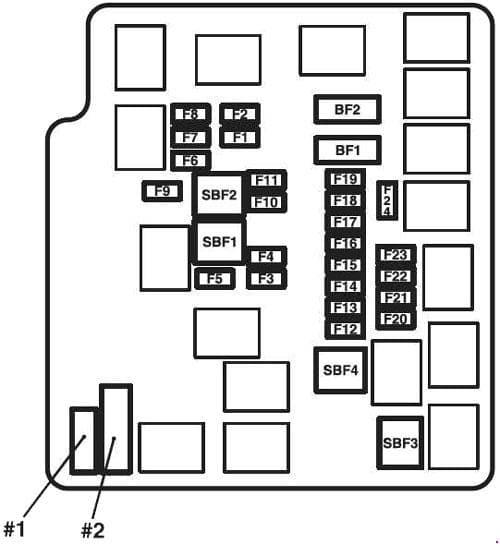 Mitsubish Mirage - fuse box diagram - engine compartment - box A