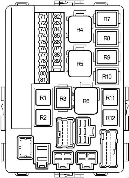 Nissan Murano - fuse box diagram - engine compartment (type 1)