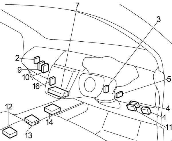 Nissan Murano - fuse box diagram - passenger compartment (location)