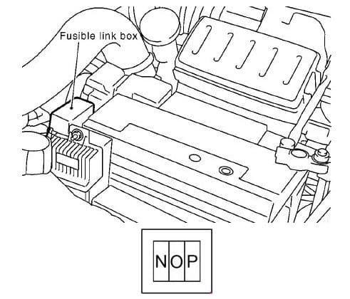 Nissan Note - fuse box diagram - fusible link box (K9K)
