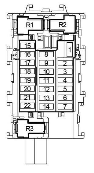 Nissan Verso Note - fuse box diagram - passenger compartment