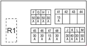 Nissan X-Trail - fuse box diagram - engine compartment E4 - engine MR