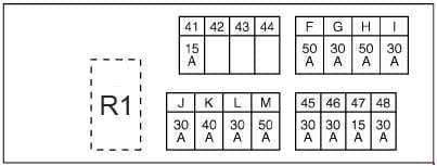 Nissan X-Trail - fuse box diagram - engine compartment E4 - engine QR