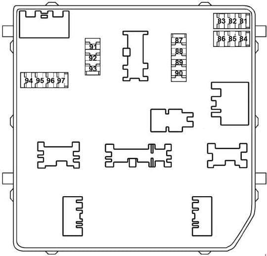 Nissan X-Trail - fuse box diagram - engine compartment (IPDM E/R)