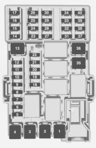 Opel Corsa E - bezpieczniki - deska rozdzielcza