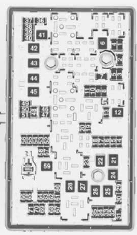 Opel Insignia - bezpieczniki - komora silnika