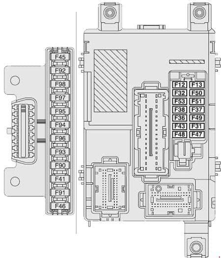 Opel Combo D - fuse box diagram - instrument panel