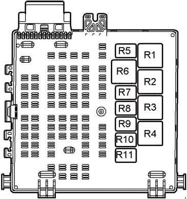 Saab 9-3 - fuse box diagram - relay