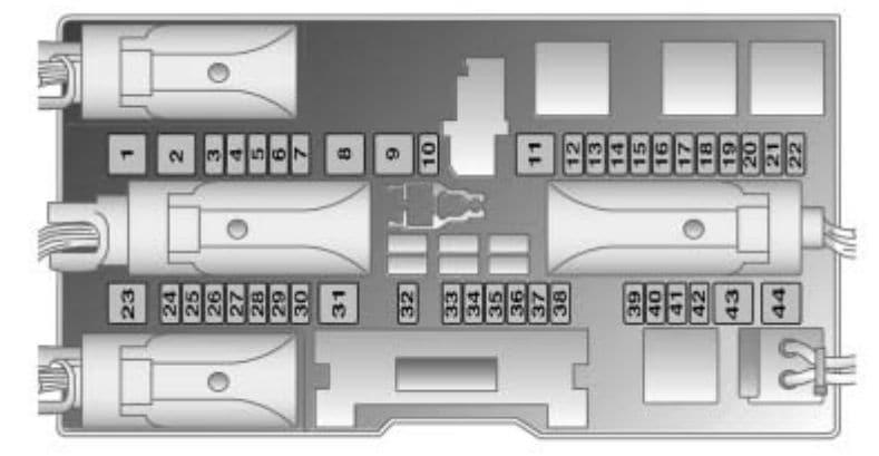 Saturn Astra - fuse box - rear compartment