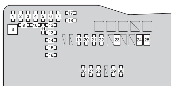 Scion iQ EV - fuse box - engine compartment -(type A)