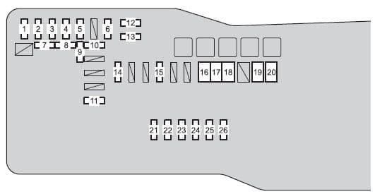 Scion iQ - fuse box - engine compartment (type B)