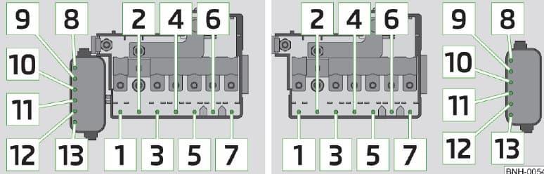 Skoda Rapid - fuse box - engine compartment (version 1/version 2)