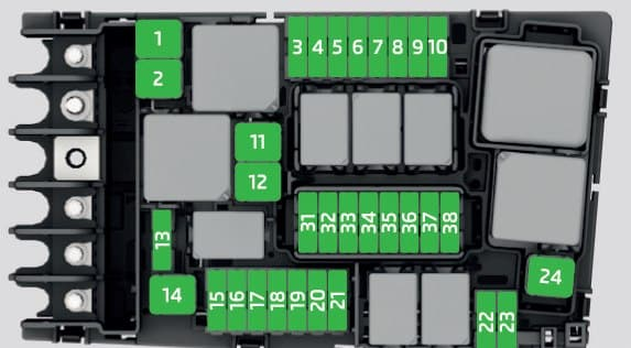 Skoda Superb - fuse box - engine compartment