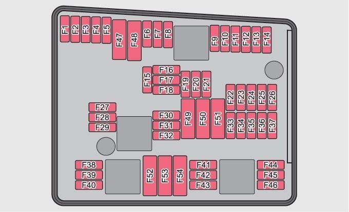 Skoda Yeti - fuse box - engine compartment (version 1)