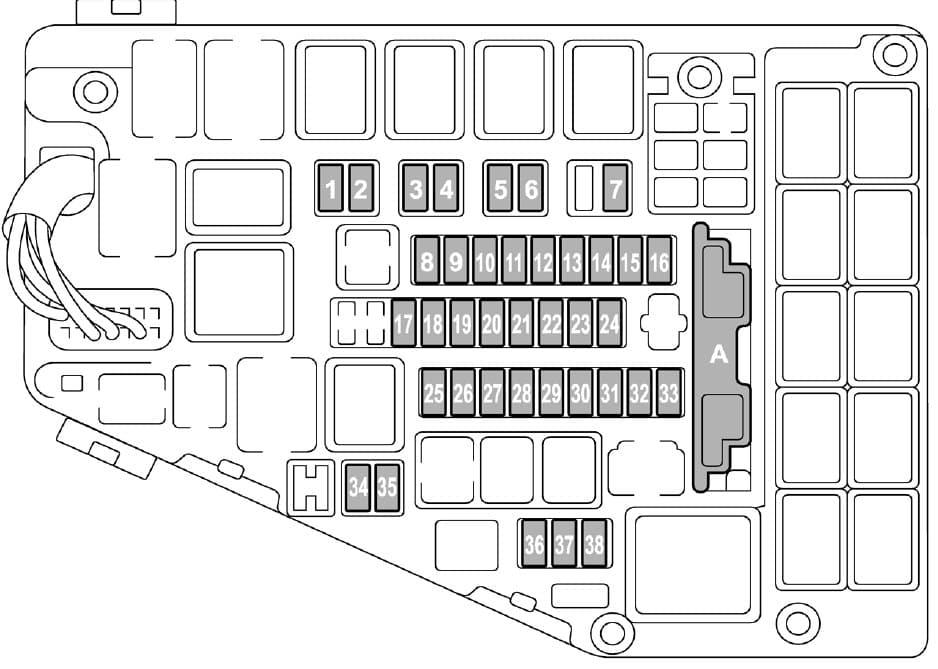Subaru Legacy - fuse box - engine compartment