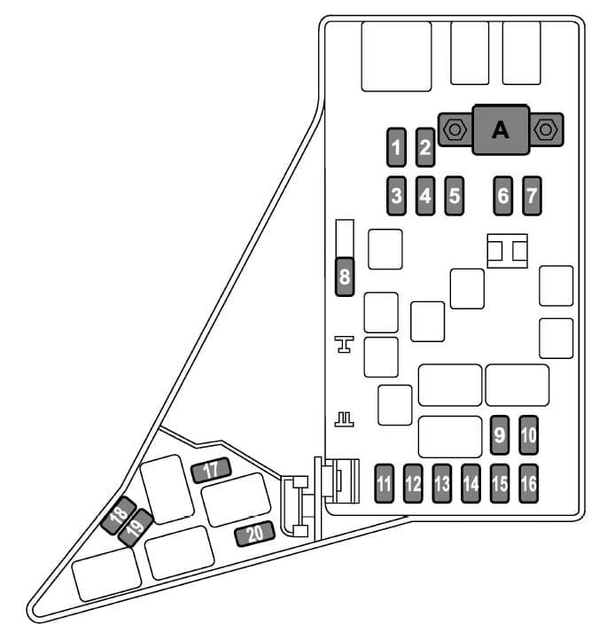 Subaru WRX - fuse box diagram - engine compartment (expect STI)