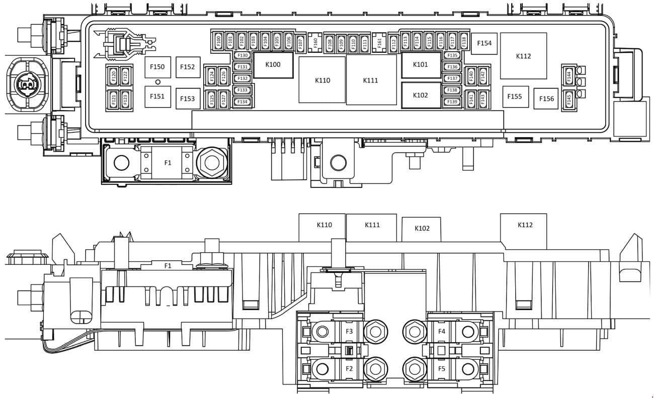 Tesla Model S - fuse box diagram - engine compartment