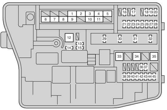 Toyota Auris mk1 - fuse box - engine compartment